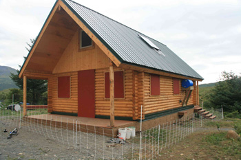 "Alaska State Park Frazer 6"" log pre-cut cabin built on Kodiak Island."