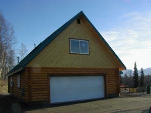 """8"""" half log sided frame garage"""