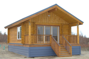 """8"""" Superior Logs pre-cut Fire Island Visitor Center above ground footers with metal roof and base trim all suplied by Superior Products, Inc."""