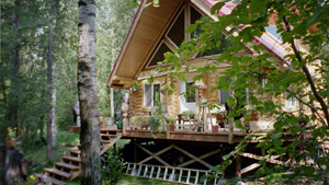 "Owner built 8"" pre-cut log home on post 'N bream foundation ."