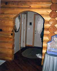 This arctic entry 4' wide interior arch was radius cut in the field. The builder created a CDX template & cut the arch to the shape they wanted. We DO NOT radius our logs at the mill.