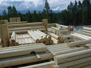 "Pre-cut 10"" Superior Logs spread on subfloor."