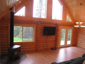 "Beautifull great room in 8"" logs with wood stove"