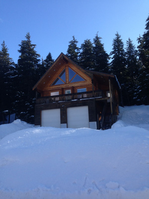 Girdwood log home above daylight 2 car  garage with great front window package.