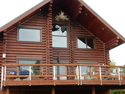 """10"""" logs on Tordrillo Mountain Lodge.  A remote Back country Heli skiing Skiing lodge in the Alaska Range"""